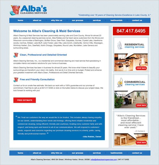 Albas Cleaning Service Website
